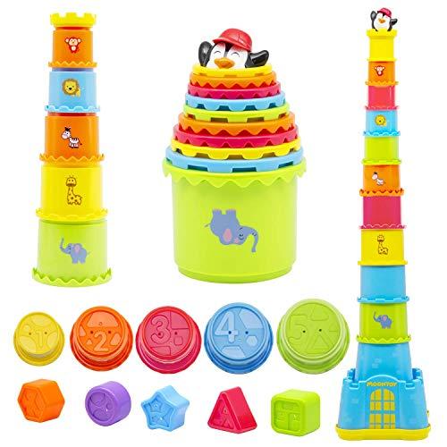 MOONTOY Stapelbecher Baby, Stapelturm Baby,Stapelwürfel ab 12 + Monate kinderspielzeug,Montessori...
