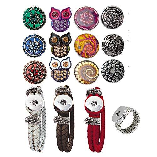 Sunsa Damen Mädchen, Click-Buttons Druckknöpfe Chunks Set für: Ring, Armbänder & 12 klick Buttons....