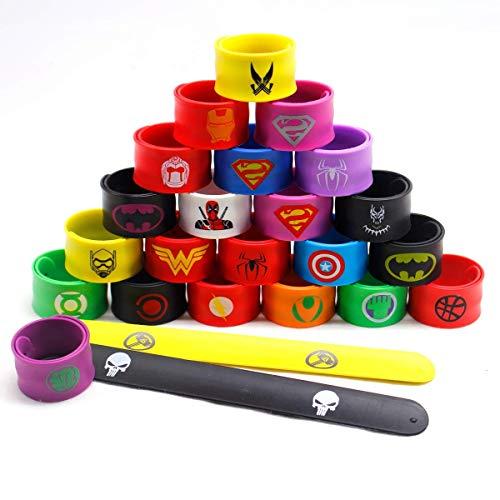 LATERN 24Pcs Bunte Schnapparmbänder für Kinder, Superhelden Slap Bands Silikon Wristband Party Bag...