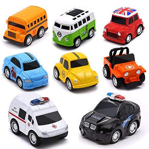 Aufziehautos Spielzeugautos Set, Metall Zurückziehen Mini Die Cast Spielsachen Auto 8 Stück, Reibung...