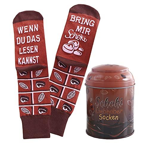 Lucadeau Geburtstagsgeschenke für Frauen und Männer - Socken mit rutschfester Aufschriftung WENN DU DAS...