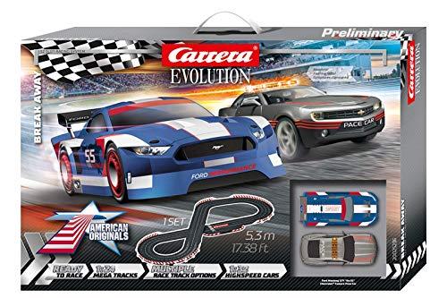 Carrera Evolution Break Away Rennbahn Set | Rennbahn mit extra breiten Schienen | Maßstab 1:24 | Ausbau...