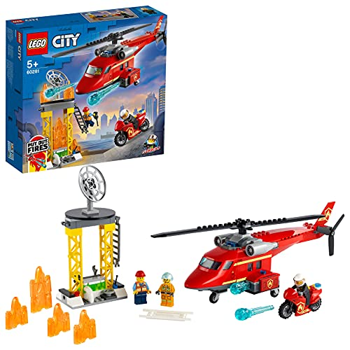 LEGO 60281 City Feuerwehrhubschrauber, Helikopter Spielzeug für Kinder ab 5 Jahre mit Motorrad,...