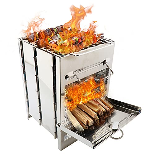 Zuoye Tragbarer Grill Campingkocher weniger Rauch, extra stabiler Edelstahl-Holzofen für Grillen,...