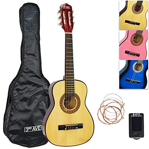 3rd Avenue Konzertgitarren-Set Junior in 1/4-Größe, mit Tasche, Saiten und Stimmgerät – Natur