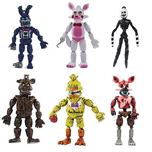 GZCC FNAF 6 Actionfiguren, 6 Zoll FNAF Actionfiguren Spielzeugset, für Filmfans Desktop-Dekorationen...
