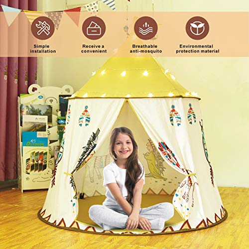Gupamiga Spielhaus Spielzelt Kinderzelt Tipi Zelt für Kinder Pop Up Klappspielzeug für für Kleinkinder...