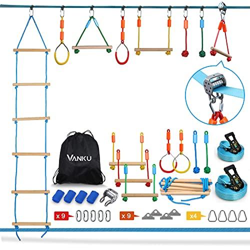 Vanku Ninja Line Slackline Set für Kinder 15 Meter mit Kletterleiter, Kletterstangen, Turnringen,...