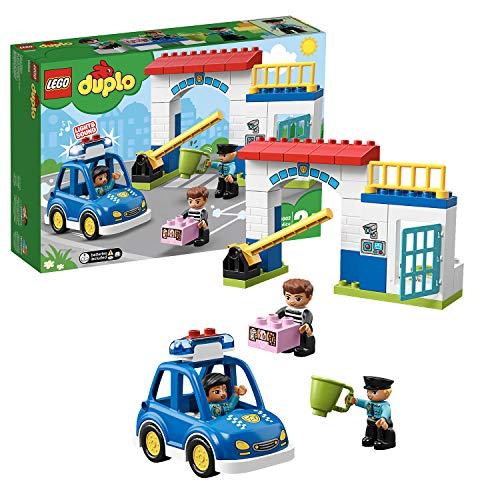 LEGO 10902 DUPLO Polizeistation mit Polizeiauto, Gefängniszelle und 2 Polizisten als Minifiguren, Licht...