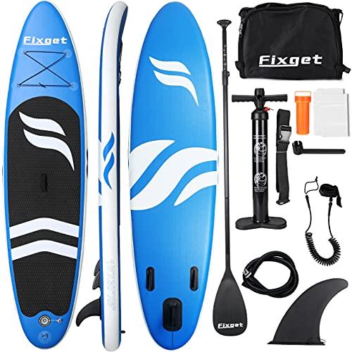 Fixget SUP Board, Stand Up Paddle Board Aufblasbar Stand-Up Paddling Board Set 300x76x15cm 150kg Last
