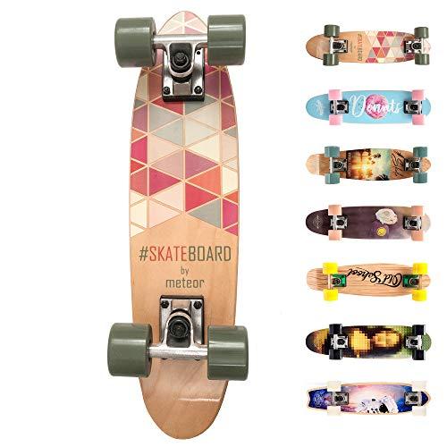 meteor Holz Skateboard Kinder - Mini Cruiser Kickboard - Skateboard mädchen Rungen Kinder ab 3 Jahre...