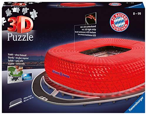 Ravensburger 3D Puzzle 12530 - Allianz Arena bei Nacht - FC Bayern München Fanartikel, 3D Puzzle für...