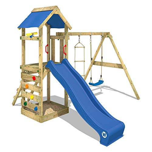 WICKEY Spielturm Klettergerüst FreeFlyer mit Schaukel & blauer Rutsche, Kletterturm mit Sandkasten,...