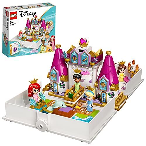 LEGO 43193 Disney Princess Märchenbuch Abenteuer mit Arielle, Belle, Cinderella und Tiana,...