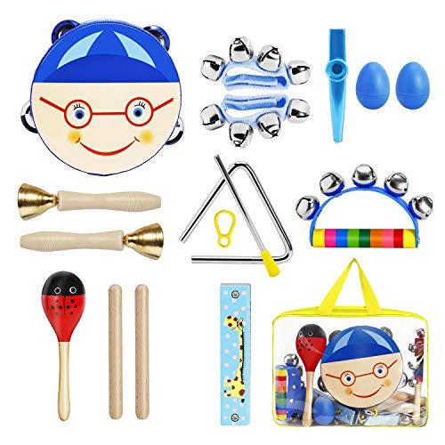 BlueFire 11 Stück Musikinstrumente Kinder, Holz Percussion Set Rhythmus Set Musical Instruments...