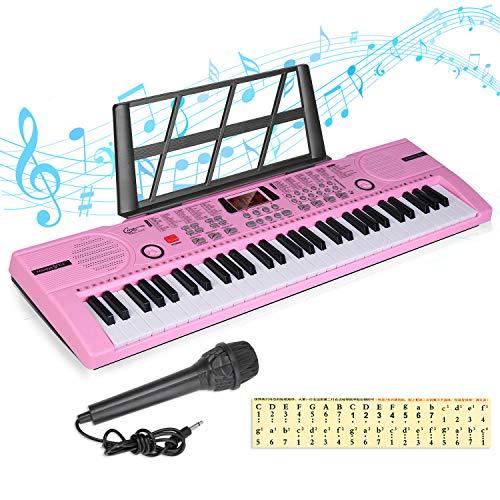 Kinder Piano Keyboard 61 Tasten Anfänger Elektronische Tastatur Tragbare digitale Musiktastatur,...