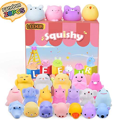 LEEHUR Squishy Kawaii Set, 20 Stück Mini Mochi Squishy, Squishy Mochi ,Fidget Toy Mochi für Jungen und...