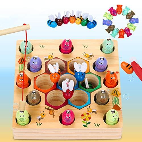 Dookey Magnetische Angelspiel Holzspielzeug 2 in 1 Montessori Lernspielzeug Magnettafel Fischspielzeug...