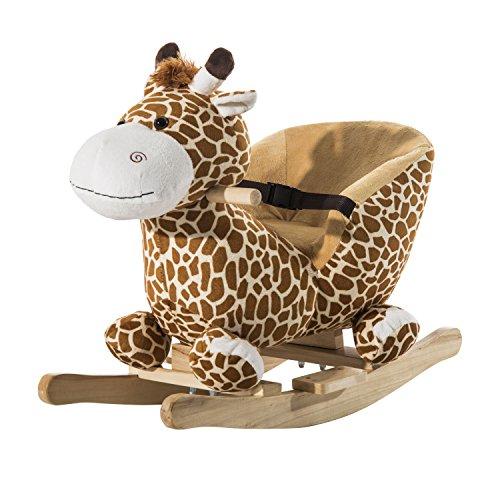 HOMCOM Schaukelpferd Schaukeltier Schaukelspielzeug Babyschaukel Kinder Spielzeug mit Lieder L60 x B33 x...