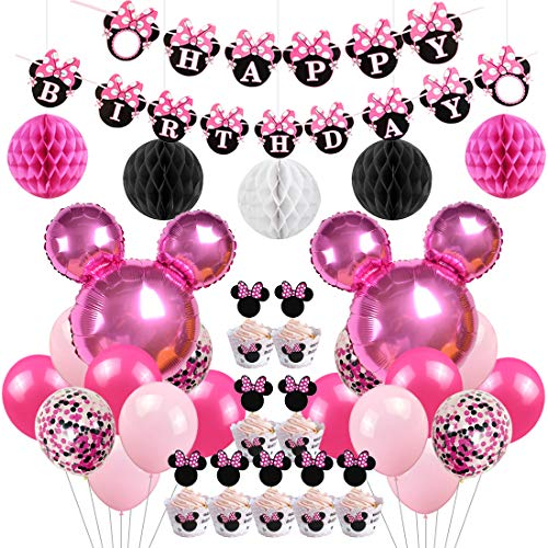 Jollyboom Minnie Motto Birthday Party Supplies Dekorationen Minnie Luftballons Cupcake Toppers Wrapper...