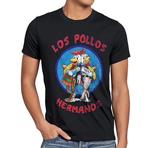 style3 Los Pollos T-Shirt Herren, Größe:XL, Farbe:Schwarz