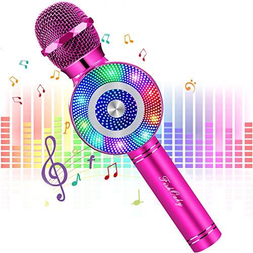 FISHOAKY Karaoke Mikrofon, 4 in 1 Bluetooth Mikrofon Karaoke Tragbarer Drahtlose Mikrofon Stereo Player...