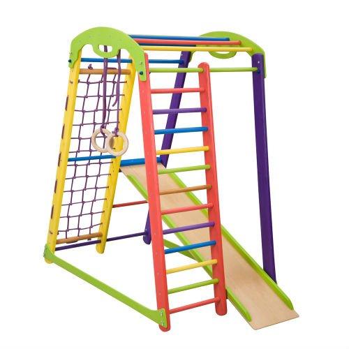 Kinder zu Hause aus Holz Spielplatz mit Rutschbahn ˝JuniorColor˝ Kletternetz Ringe Kletterwand