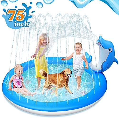 LUKAT Dolphin Splash Pad, 190CM Splash Matte Garten Planschbecken Splash Spielmatte Sprinkler Play Matte...
