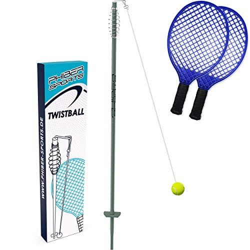 PHIBER-SPORTS Premium Swingball Set mit 2 ergonomischen Schlägern – Outdoor Twistball Spiel -...
