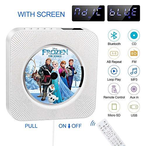 Tragbarer CD-Player, Bluetooth-CD-Player, integrierter HiFi-Lautsprecher, FM-CD-Radio, USB-MP3-Musik,...