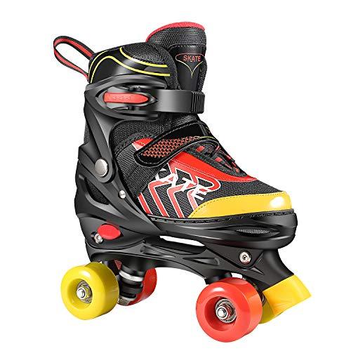 Hikole Rollschuhe für Kinder Roller Skates für Anfänger größenverstellbare (Größe 31-38) ABEC 7,...