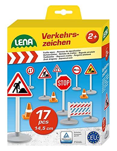 Lena 04440 - Verkehrszeichen Set mit 17 Teilen, mit 9 Verkehrsschilder ca. 16 cm, 5 Pylonen und 3...
