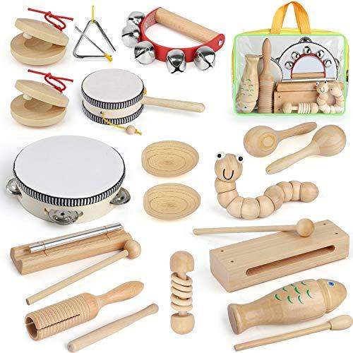 AILUKI 21 Stück Musikinstrumente Musical Instruments Set, Holz Percussion Set Schlagzeug Schlagwerk...