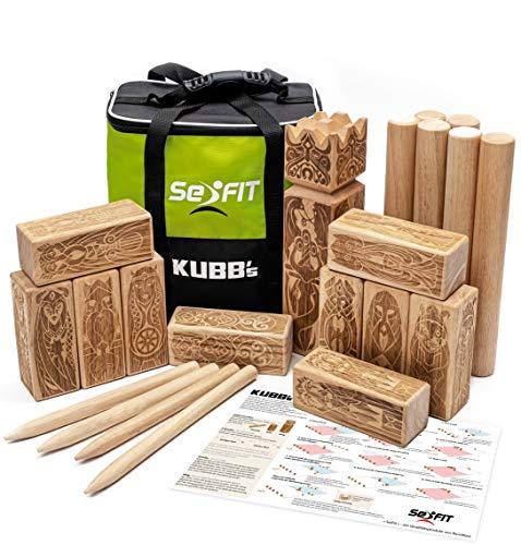 SeiFIT Original Kubb Spiel aus Gummibaumholz - Wikingerschach für Erwachsene und Kinder - Wikinger...