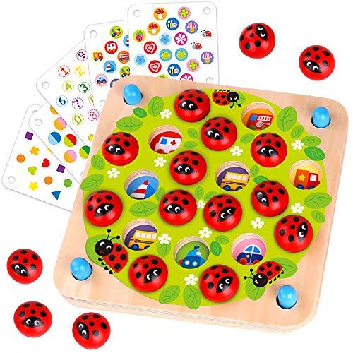 Nene Toys - Marienkäfer-Garten - Memory-Spiel aus Holz für Kinder im Alter von 3, 4, 5 Jahren mit 10...