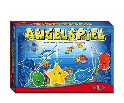 Noris 606049103 Angelspiel, spannendes Kinderspiel mit bunten Kunststoff Fisch-Figuren und 4 Angeln, ab 3...