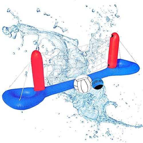 Aufblasbares Pool Volleyballnetz incl. 2x Wasserball | XXL Volleyball Game Set | Volleyballnetz...