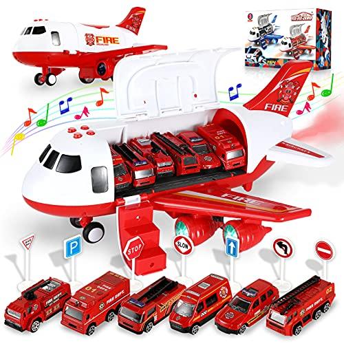 Transport Flugzeuge Spielzeug mit 6 Feuerwehrfahrzeuge, Spielzeugauto Modell Set Kinder Rollenspiel DIY...
