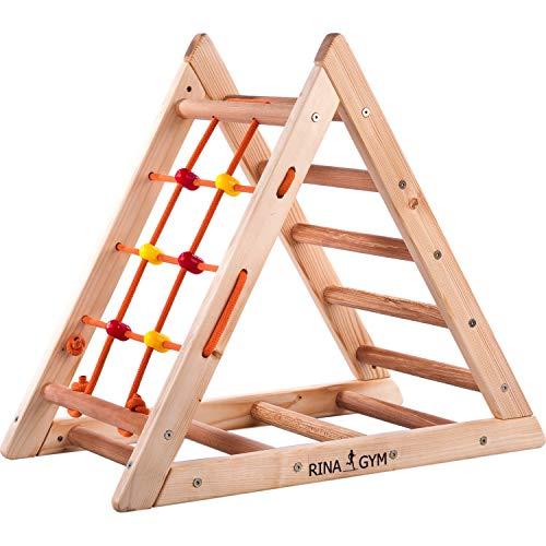RINAGYM Kletterdreieck für Kinder - Klettergerüst aus Holz - Leiter, Spielnetz - Indoor-Spielplatz,...
