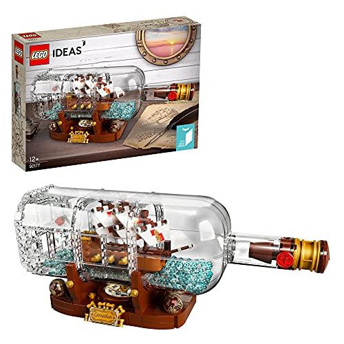 LEGO 92177 Ideas Schiff in der Flasche, Modellbausatz eines Schiffs zur Deko für Erwachsene sowie...