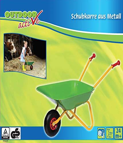 Outdoor active Schubkarre Metall grün und gelb