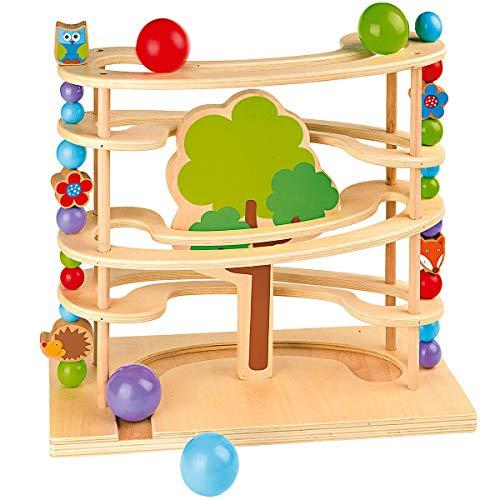 Holzkugelbahn mit Waldtieren für Kleinkinder ab 18 Monaten