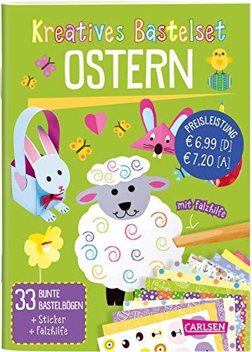 Kreatives Bastelset: Ostern: Set mit 33 bunten Papierbögen, Vorlagen zum Heraustrennen, Stickern und...