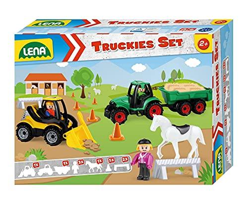 Lena 01632 Truckies Set Bauernhof 13 teilig, Inhalt: Traktor mit Anhänger 36 cm, Radlader ca. 21 cm, 3...