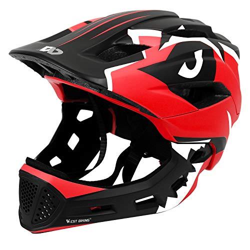 ICOCOPRO Fahrradhelme,Sicherheitsschutz für Kinder, Abnehmbar, Fullface Helm Kinder, für 5-15...