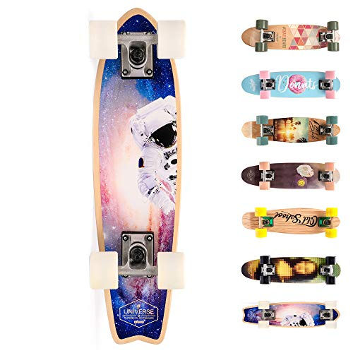 meteor Holz Skateboard Kinder - Mini Cruiser Kickboard - Skateboard mädchen Rollen Board - hohe...