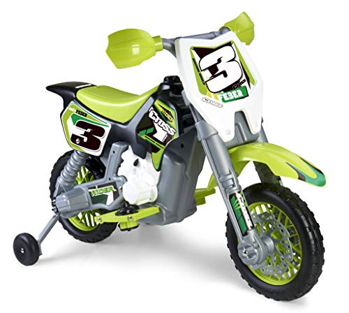 FEBER 6V Motorrad Cross, 400F, 6 V, Farbe Schwarz, Grau, Rot, Gelb (Famosa 800011250)