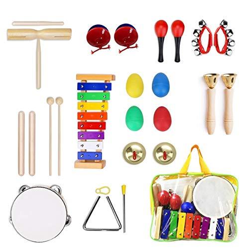 Ulifeme Musikinstrumente Kinder, 24PCS Holzspielzeug Musical Percussion Instrumente Set für Kleinkinder...