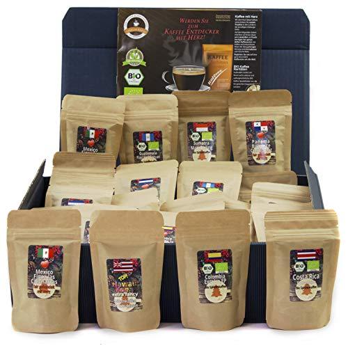 C&T Kaffee-Geschenkset Bio/Fair 24 Päckchen á 25 g (Ganze Bohnen) mit 24 Biologischen, Raritäten- und...