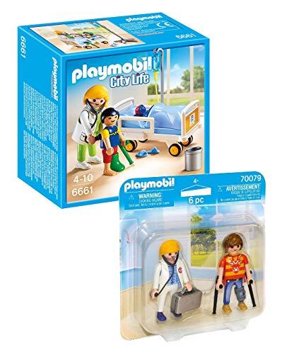 Playmobil Krankenhaus Hospital Set: 6661 Ärztin am Kinderkrankenbett + 70079 Duo Pack DuoPack Ärztin...